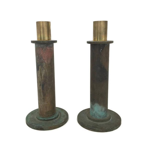Rustic Brass Candlesticks with Verdigris, Heavy Brass Candle Holders, Rustic Home Decor, Vintage Candleholders, Taper Candle Holders, Gothic