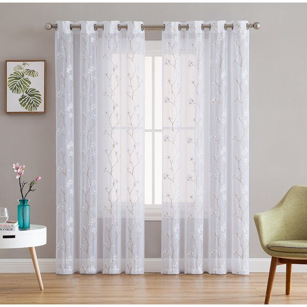 Dionysios Floral Embroidered Semi Sheer Grommet Curtain Panels