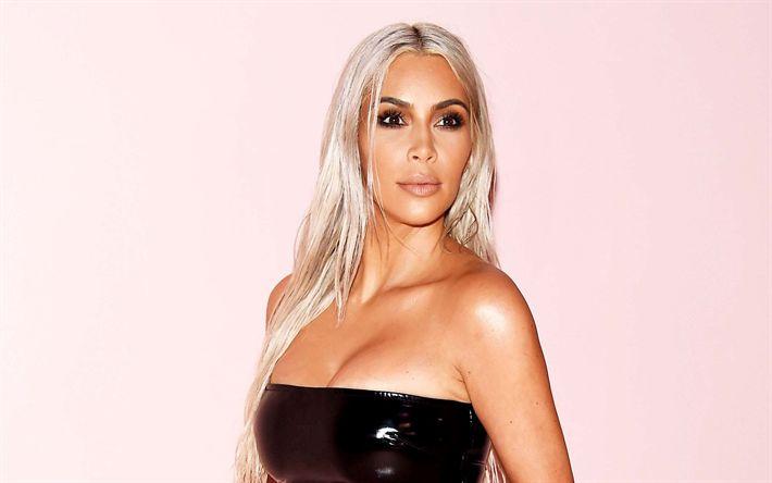 Lataa kuva Kim Kardashian, blondi, 2017, Hollywood, kauneus, amerikkalainen näyttelijä