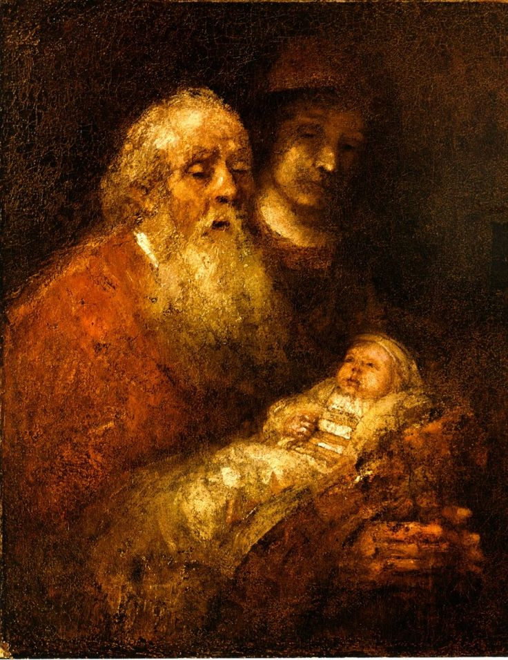 Simeon seems a frail apparition, eyes nearly shut and lips parted as if uttering words of praise. He holds his hands out stiffly, afraid even to touch the holy child. After the vision of the new life, the old man can go in peace. Rembrandt's final painting gathers with simplicity the two extreme points of the life cycle... The painting was left unfinished at the painter's death. || Simeon with the infant Christus in the temple - The presentation in the temple - 1669