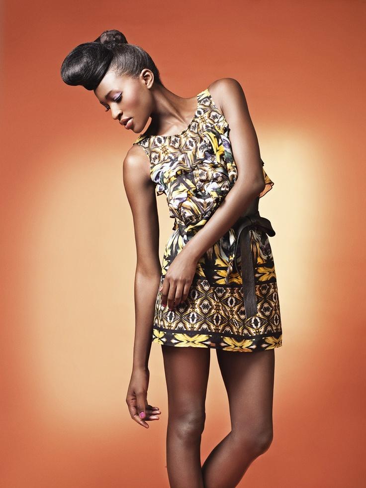Kaleidoscope Print Ruffle Dress
