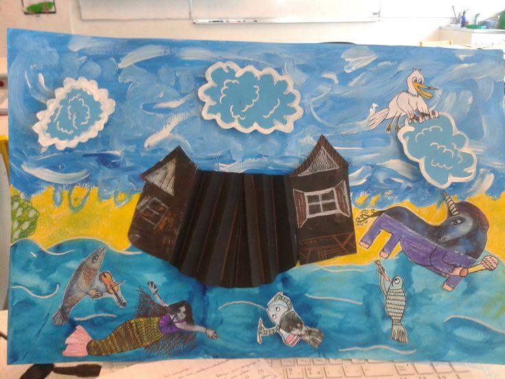 """Monde merveilleux, collage à partir du tableau """"Le cheval et l'enfant"""" de Chagall"""