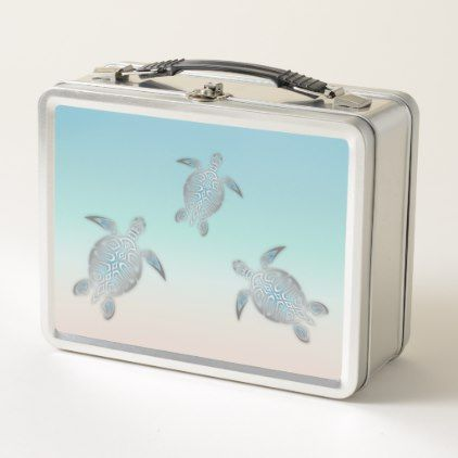 Silver Sea Turtles Beach Style Metal Lunch Box - kitchen gifts diy ideas decor special unique individual customized