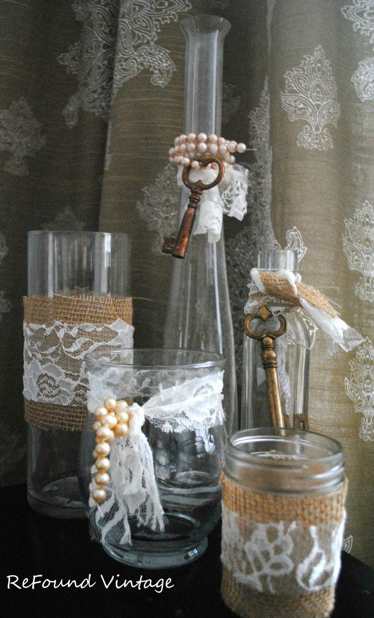 5 shabby chic vases bottles by refoundvintage on etsy winter rh pinterest com