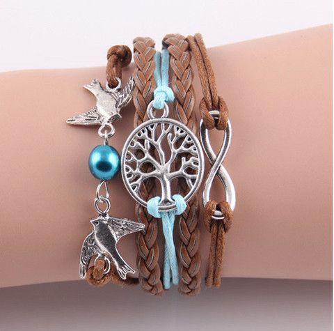 Leather Infinity Pendant Bracelet