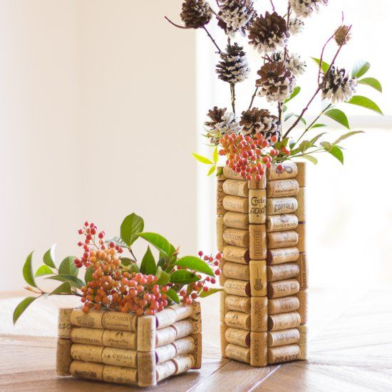 If you collect wine corks, this is the project for you! Make these gorgeous vases as holiday decor or gifts for a couple dollars a piece!