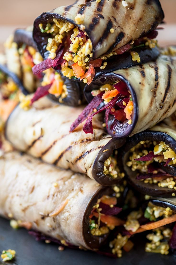 This recipe sees strips of aubergine stuffed with a delicious mix of paneer, crispy vegetables and quinoa
