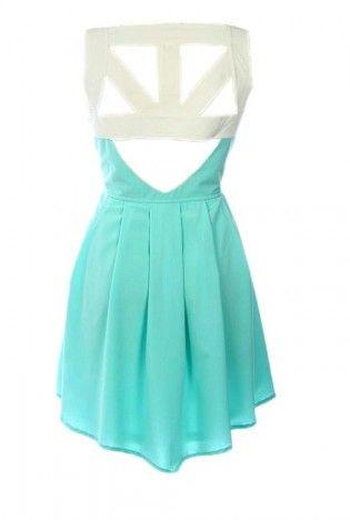 : Mint Green, Cutout, Back Dresses, Aqua Blue, Summer Style, Cute Dresses, Clothing Design, Day Dresses, Cut Outs
