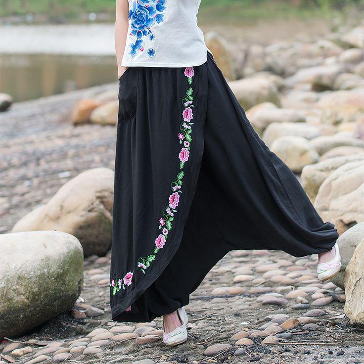 Ucuz Nakış Elbise Pantolon Kadın Siyah Keten Harem Pantolon Artı Boyutu Gevşek Pamuk Pantolon Çiçekler Geniş Bacak Pantolon Uzun Sweatpants, Satın Kalite pantolon ve kapriler doğrudan Çin Tedarikçilerden: Xlmodel- özel- 29841açıklamasınakış elbise pantolon kadın siyah keten pantolon harem artı boyutu gevşek pamuklu pantolon