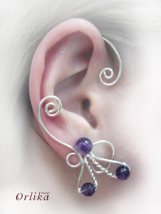 Wire wrapped Punk Ear Wrap Earring with gemstone by Orlika on Etsy...Love this idea!
