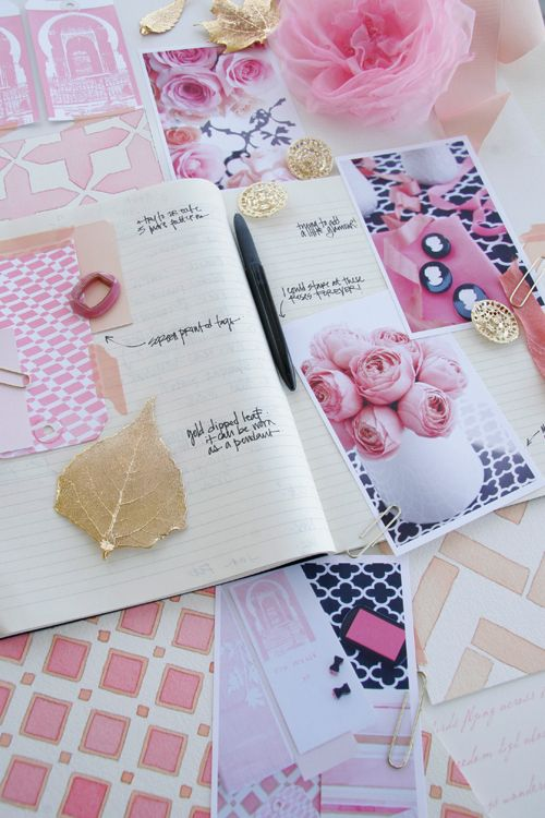 pink melon black white & gold via decor8