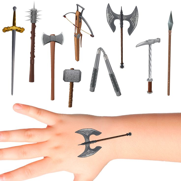Weapons Temporary Tattoos for Kids #928 (26 pack)