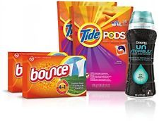 Tide Amazing Laundry Bundle (68 Loads): Tide PODS Bounce Sheets And Downy