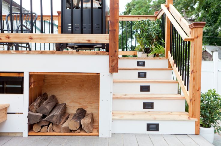 Great wood storage under the deck, especially if you put a fireplace on the patio!