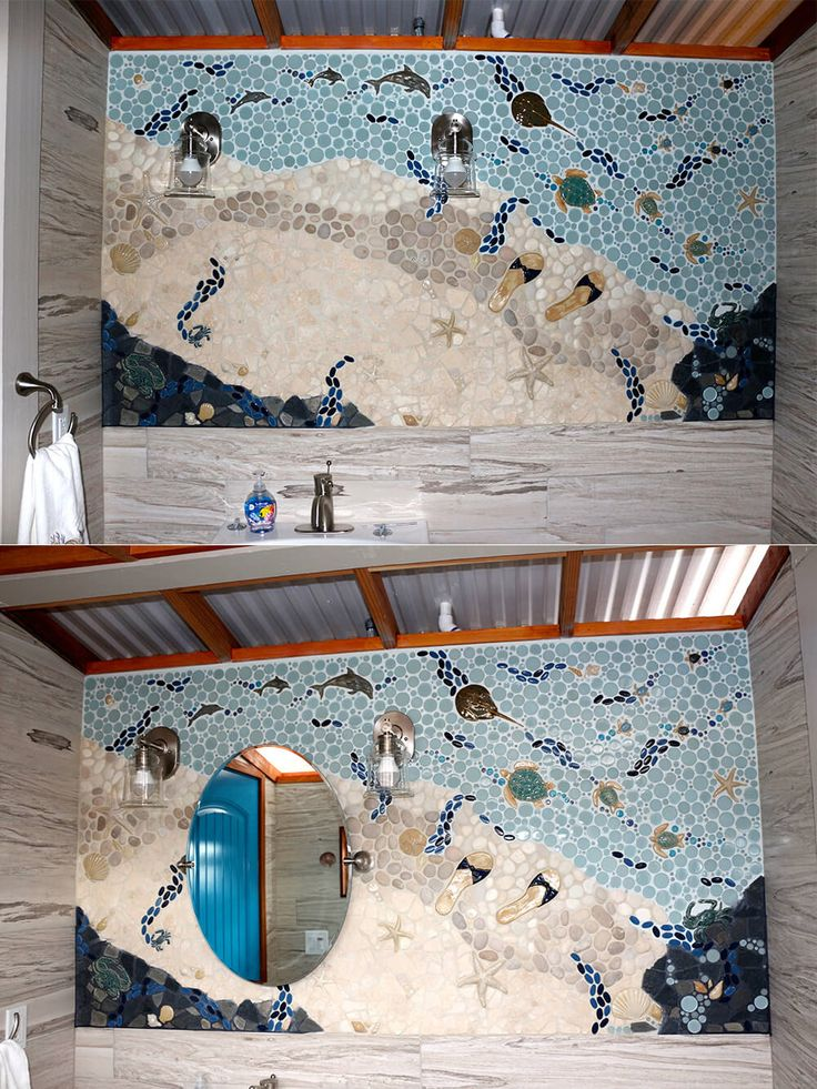 49 best images about bathroom installs on pinterest for Crossing the shallows tile mural