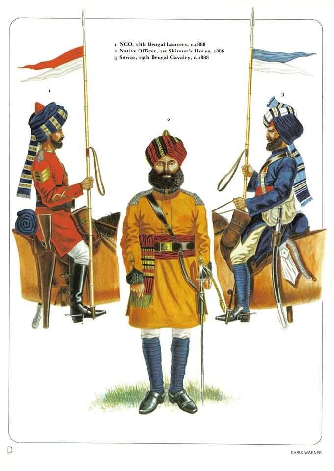 1:NCO,18th Bengal Lancers,1888.2:Native officer,1st Skinner's Horse.1866.3:Sowar,19th Bengal Cavalry,1888.