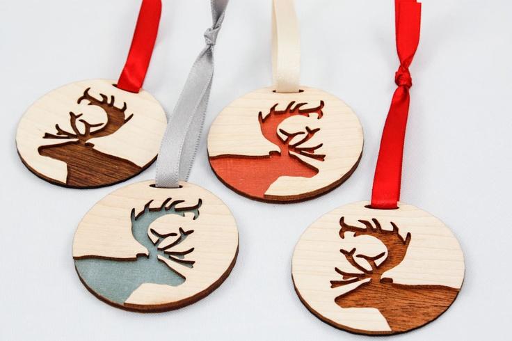Deer Ornament - Shimmery Teal (Laser Cut). $12.00, via Etsy.