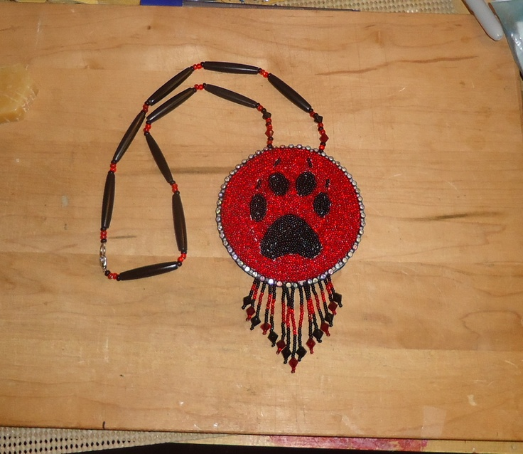 Choctaw Beads: A Wolf Paw Beaded Medallion That I Made.