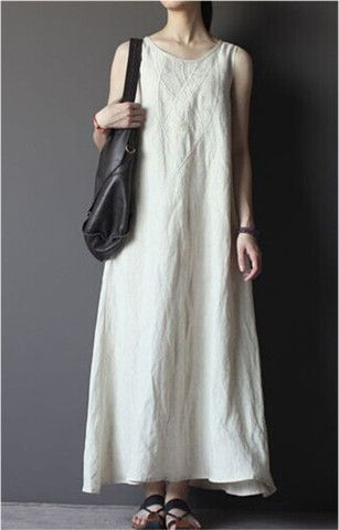 Embroidered Linen Dress in White