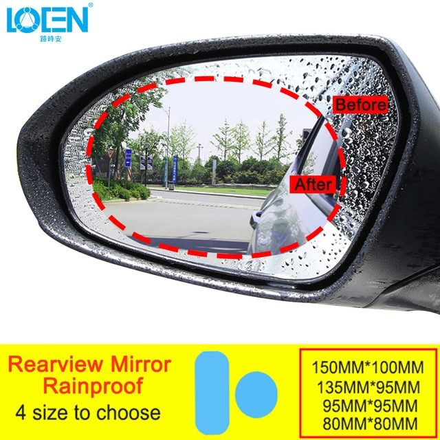 2pcs Car Rear View Mirror Sticker Anti-fog Rainproof Protective Film Rain Shield