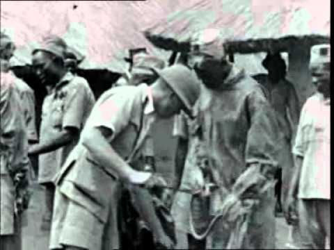 DDT Preparation and Use in 1946 Health Campaign Against Malaria in Kenya.  This is clipped from the record of the 1946 campaign to check an epidemic of malaria in the Kipsigis tribal reserve in the Kisumu district of north-west Kenya by spraying village huts with DDT. The film, titled DDT Versus Malaria: A Successful Experiment in Malaria Control (1947), by the Kenya