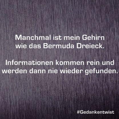 Manchmal ist mein Gehirn wie das Bermuda Dreieck.Informationen kommen rein und werden dann nie wieder gefunden. #gedankentwist #deutsch #humor