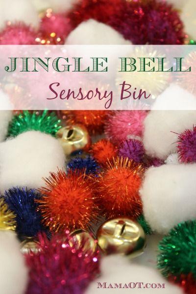 This jingle bell Christmas sensory bin adds a whole new element to sensory bin play -- auditory! #sensory #childdevelopment #mamaot