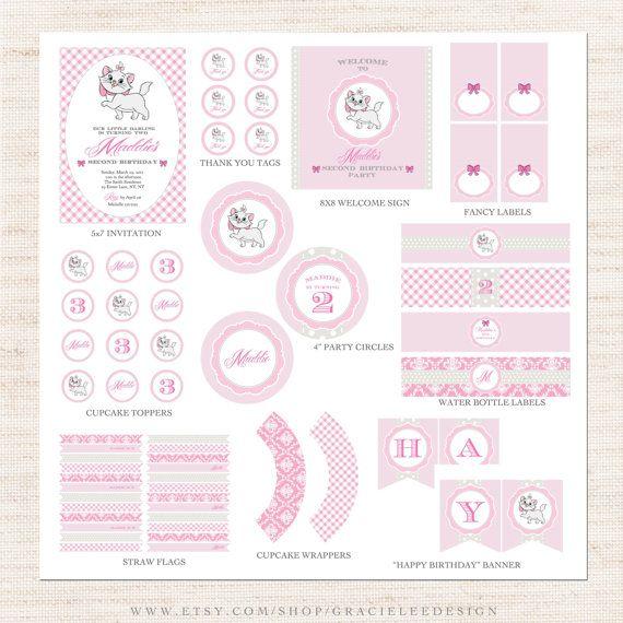 Marie Aristocats Birthday Party Full Printable Collection | Marie Aristocats Party Printable Package | Girl Birthday | Gracie Lee Design