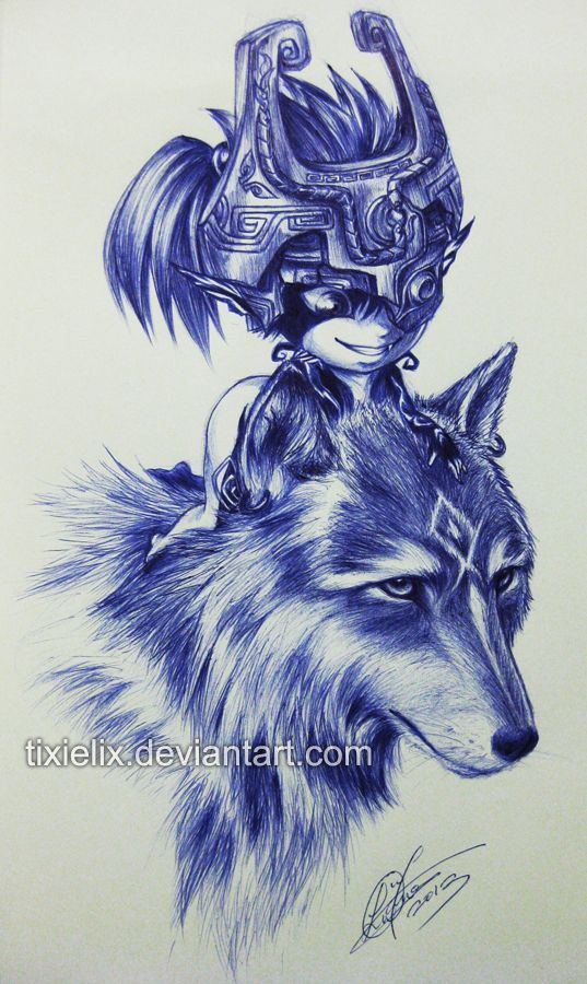 Wolf Link Twilight Princess Tattoo wolf link n midna pen sketch by ...