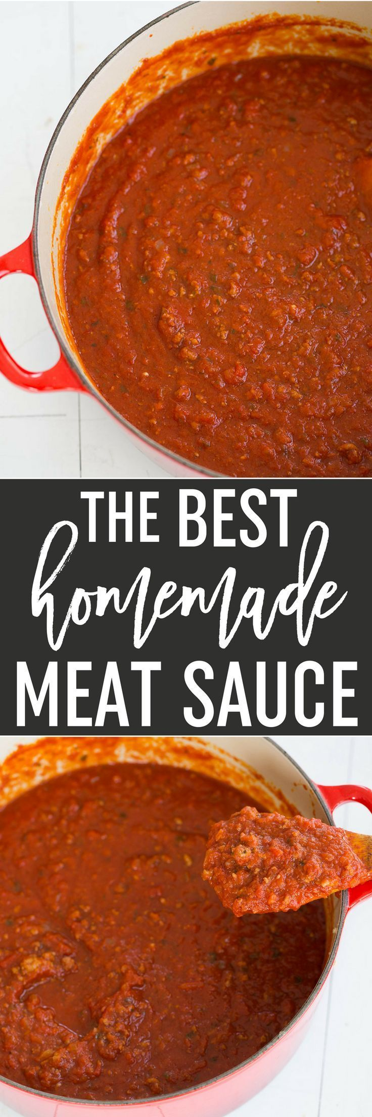 This homemade meat sauce is the BEST! It's thick, hearty, and uses a combination of beef, pork and veal for phenomenal flavor. via /browneyedbaker/