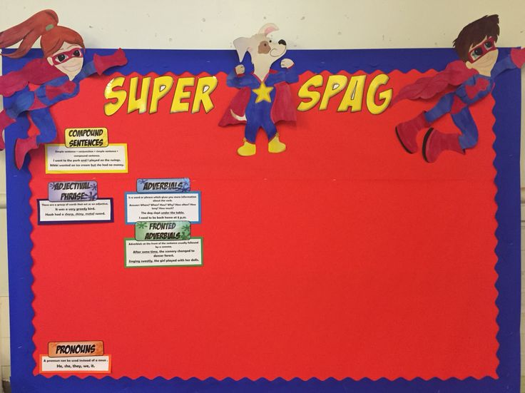 My Super SPaG display board- introducing my new characters- Super Speller, Grammar Girl and Punctuation Pup!! Will add new spag learnt over the year!