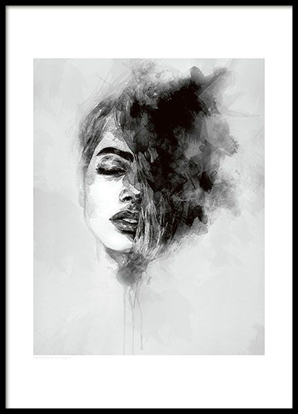 Scandinavian art poster. Beautiful art print with a woman painted in watercolor. Match This poster with our popular Black Feather poster or with our text posters in a wall collage. www.desenio.com