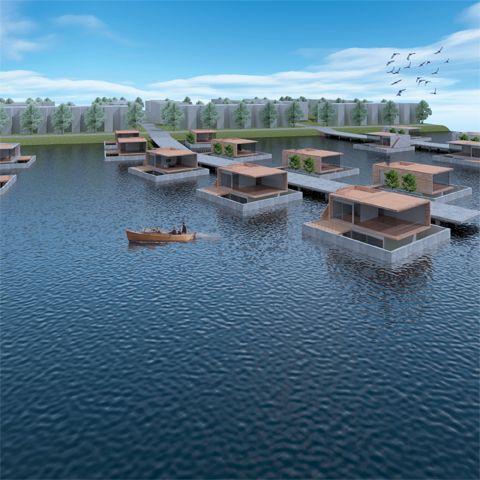 Architect woonboot, waterwoning, watervilla, drijvende woning, woonark | Klimaat, wonen op het water
