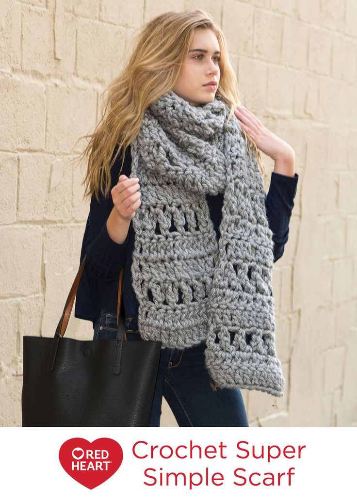 Crochet Super Simple Scarf Free Crochet Pattern in Red Heart Yarns -- Here's another great super scarf pattern. Grande yarn crochets up quickly in this jumbo-sized lacy scarf.