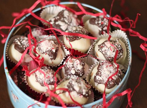 Peppermint Bark Cheesecake Truffles--For the recipe files next year.