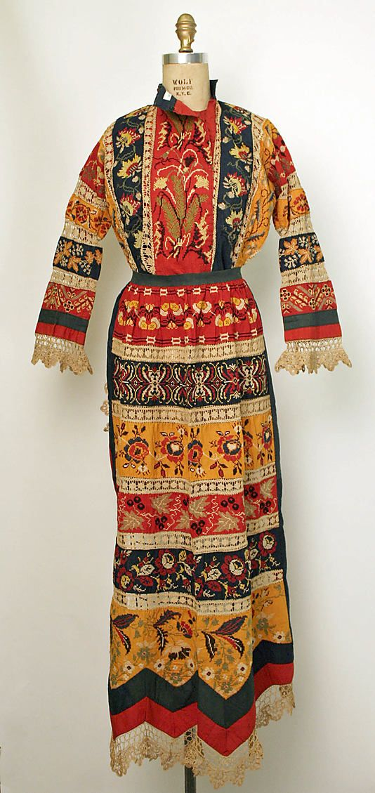 Russian, peasant woman embroidered cotton ensemble, 1850–99