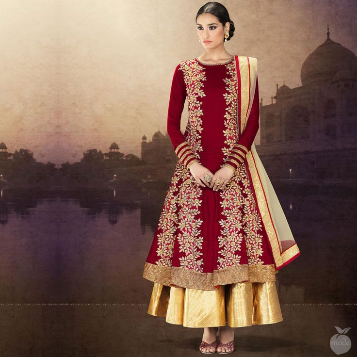 Red double layer anarkali