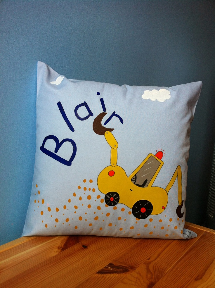 Blair can dream of playing on diggers when snuggled up to his cushion designed and created just for him.