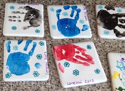 how to make hand print tile coasters                                                                                                                                                                                 More