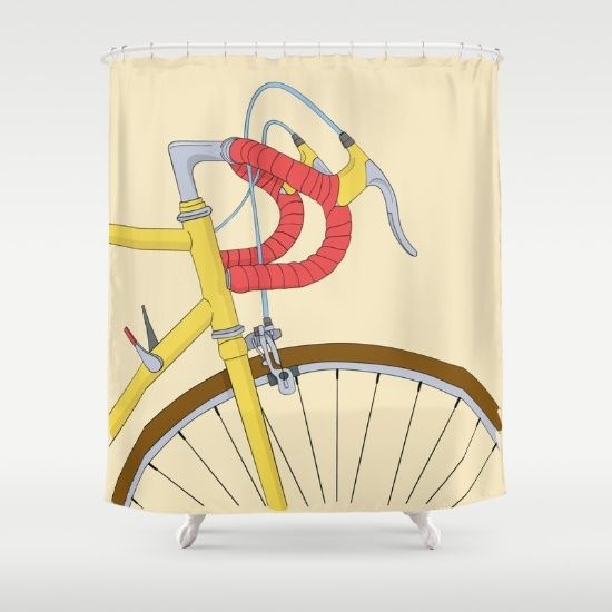 Bicycle Shower Curtain by The Lazy Pigeon on Society6 @society6 #society6 #art #print #home #decor #shop #buy #sale #shopping #women #men #fashion #style #cool #awesome #nice #sweet #awesomeness #look #blog #blogging #blogged #color #yellow #red #bicycle #fixie #bike #cycling #drawing #painting #realism #illustration #bathroom #shower #curtain #bathe #bath