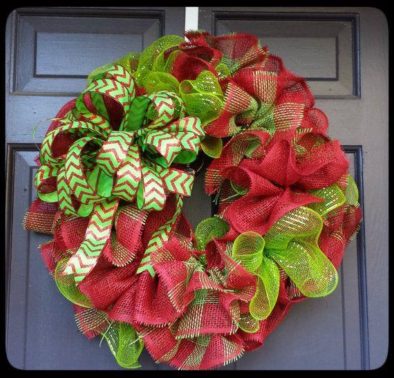 Christmas Wreath Burlap Christmas Wreath by SouthernThrills, $48.00