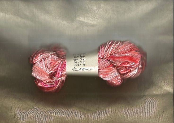 Nylon Knitting Ribbon : Paintbrush orange hand dyed party satin se nylon knitting