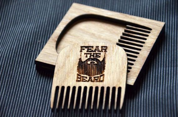 NEW PRICE Beard comb. Personalized custom engraved wooden comb. For men, for him. Fear the beard. Beard comb, moustache comb, hair comb