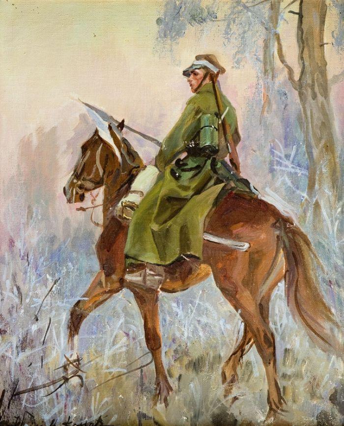 "Painting by Wojciech Kossak - ""Ułan na koniu"" / ""Uhlan on Horseback"""