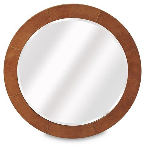 Lea Stitched-Leather Wall Mirror, Brown - Wall Mirrors - Mirrors - Art & Mirrors   One Kings Lane