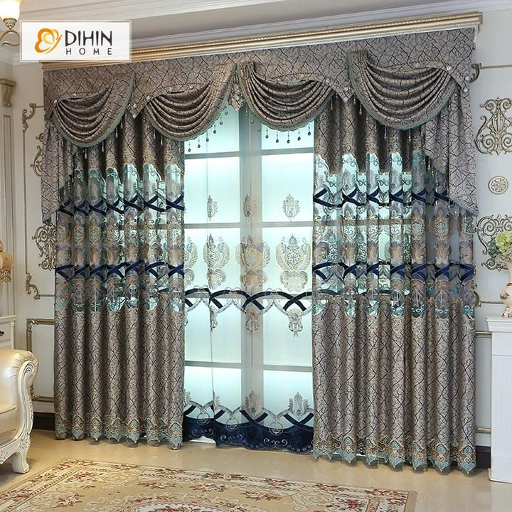 Dihin Home Grey Luxury Embroidered Valance Blackout Curtains Grommet Window Curtain For Living Room 52x84 Inch 1 Panel Window Curtains Living Room Luxury Curtains Elegant Curtains