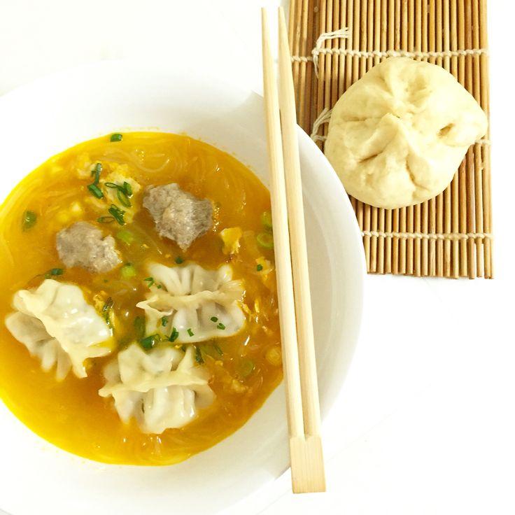 Home Made Wanton Soup and Siopao (char siu bao)