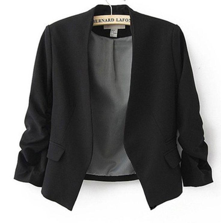 2016 femme Blazer femmes veste manches poches aucun bouton femme Slim court veste de costume Blazer Blazer femmes bonbons couleur B180