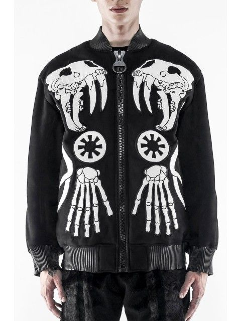 Shearling Skeleton Patchwork Bomber Jacket - Jackets - Clothing - Men