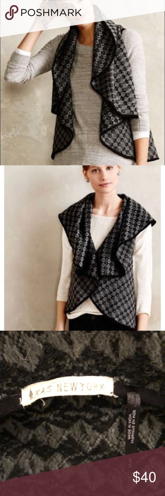 Anthropologie Grey/Black Draped Vest Worn one time, size small! From Anthropologie, a vest by KAS New York. Black and grey weave, draped style. Sleeveless with oversized collar. One snap button closure. Black piping. Cute to layer over long sleeve or sleeveless top. Wool blend (wool/poly/cotton). Wearable in all seasons! Anthropologie Sweaters